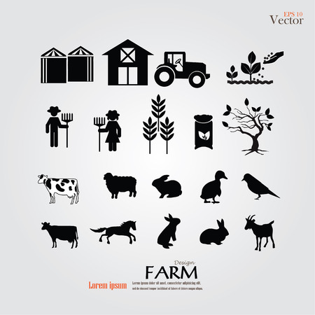 livestock: Farm  icon.farm icon with animals.farm.vector illustration.