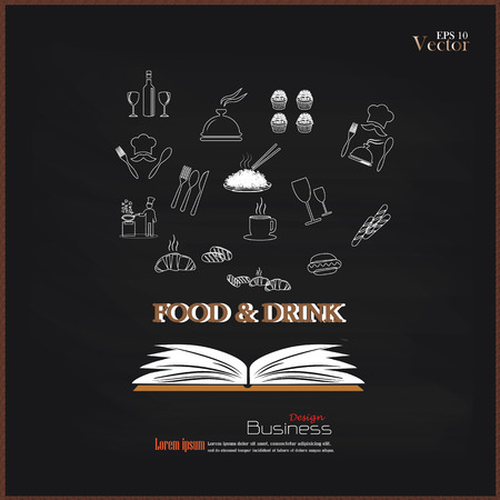 opened book: Opened book with food and drink icon on chalkboard.food and drink.vector illustration. Illustration