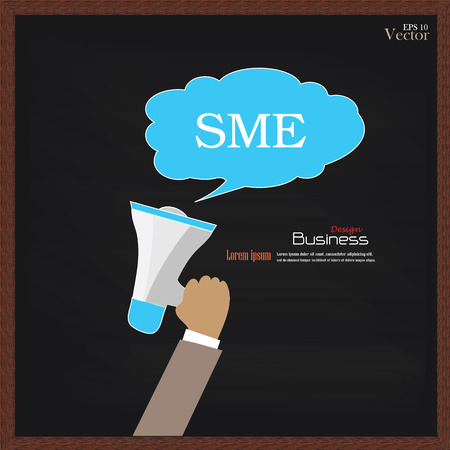 medium: Hand holding  megaphone with  SME (Small and medium enterprises  word on chalkboard.SME concept.vector illustration. Illustration