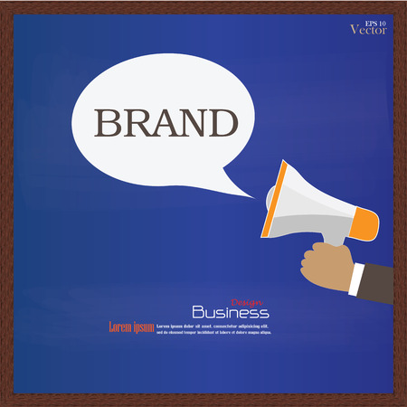 branded product: Branding concept.Branding with megaphone on chalkboard.vector illustration.