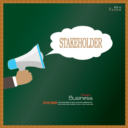 stakeholder: Hand holding megaphone with  stakeholder word on chalkboard.promotion background.vector illustration. Illustration
