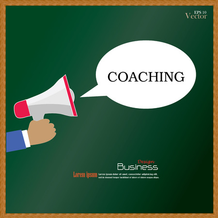 govern: Hand holding megaphone with  coaching word on chalkboard.coaching concept.vector illustration. Illustration
