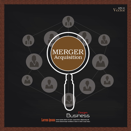 merger: merger acquisition. merger acquisition with magnifier and business man network icon.vector illustration.