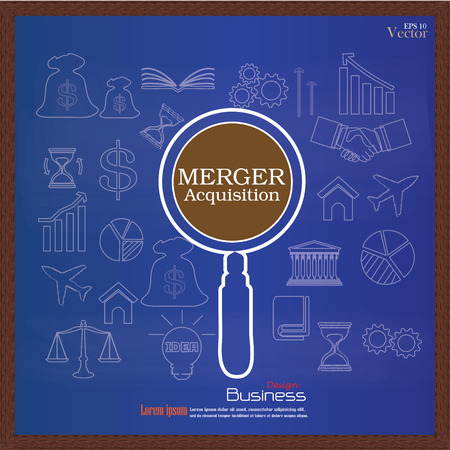 company ownership: merger acquisition. merger acquisition with magnifier and business icon.vector illustration.