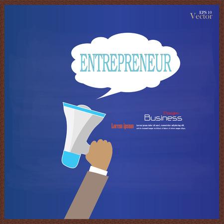 emprendimiento: Mano que sostiene el meg�fono con la palabra empresario en la ilustraci�n background.vector chalkboard.promotion.