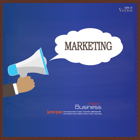 financial emergency: Hand holding megaphone with  marketing word on chalkboard.promotion background.vector illustration.