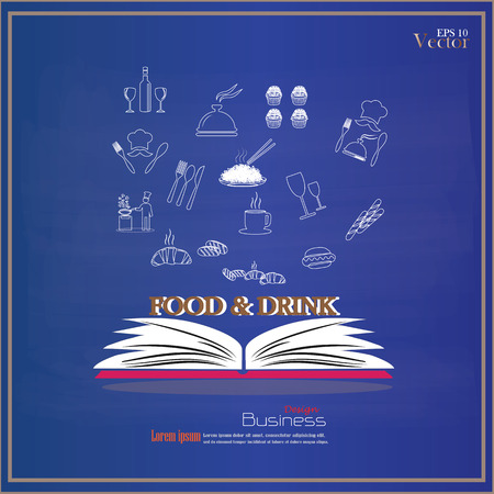 rice wine: Opened book with food and drink icon on chalkboard.food and drink.vector illustration. Illustration
