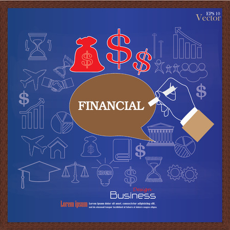 content writing: Businessman hand writing Internet Financial on chalkboard. Financial concept.business concept.vector illustration.