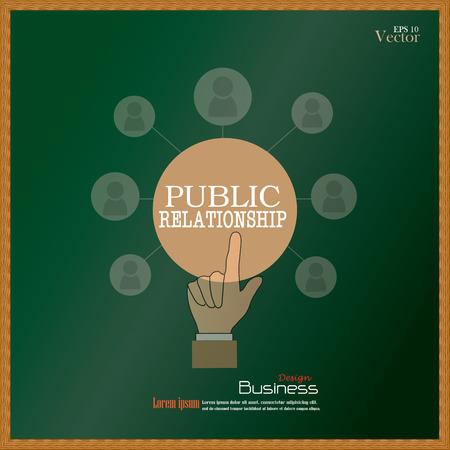 pr: public relationsip. Hand point bublic relationship  with business man network on chalkboard.PR concept.vector illustration Illustration