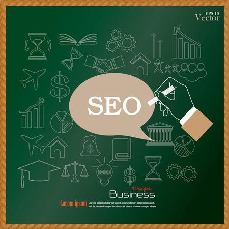 optimizing: hand writing  SEO (  search engine optimization) on chalkboard.  SEO  concept   concept   vector illustration Illustration