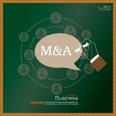 merger: M&A (merger acquisition).hand writing  M&A with  business man network icon on chalkboard.vector illustration.