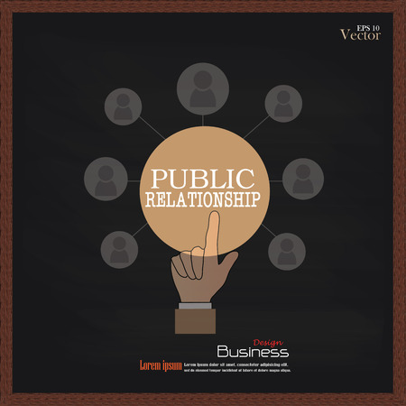 pr: public relationsip. Hand point bublic relationship  with business icon on chalkboard.PR concept.vector illustration Illustration