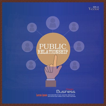 relationsip: public relationsip. Hand point bublic relationship  with business icon on chalkboard.PR concept.vector illustration Illustration