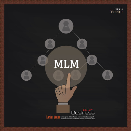 mlm: MLM - multi level marketing.hand pointing MLM with businessman icon on chalkboard.vector illustration. Illustration