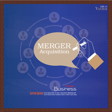 merger: merger acquisition.hand writing  merger acquisition with  business man network icon.vector illustration.