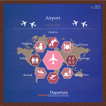 Airport with world map infographic element can be used for airport business infographic presentation template concept design on world map and airport service iconsrport gumiabroncs Gallery