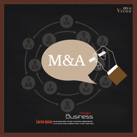 bought: M&A (merger acquisition).hand writing  M&A with  business man network icon on chalkboard.vector illustration.