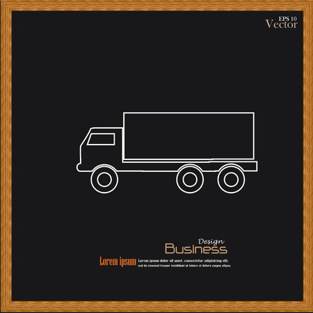 transport icon: truck  icon on chalkboard .Transport icon .transportation .vector illustration .