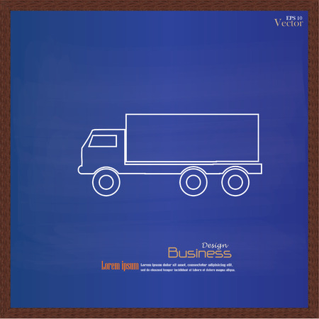 icona trasporti: truck  icon on chalkboard .Transport icon .transportation .vector illustration .