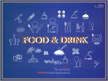 rice wine: food and drink icon on chalkboard.sketch food and drink icon.food and drink.vector illustration