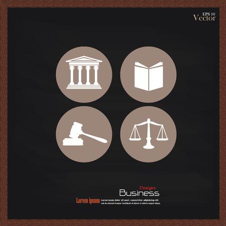 justiz: Gerechtigkeit Gerichtsgeb�ude mit Waage der Gerechtigkeit, Buch und Hammer auf chalkboard.vector Illustration.