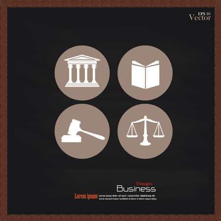 justice: Justice court building   with scales of justice ,book and gavel on chalkboard.vector illustration. Illustration