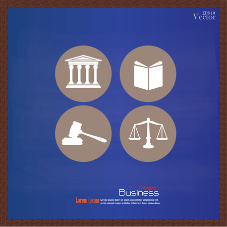 supreme: Justice court building   with scales of justice ,book and gavel on chalkboard.vector illustration. Illustration