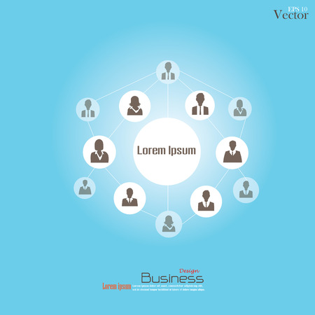 Business man network.connecting people.network concept.vector illustration.