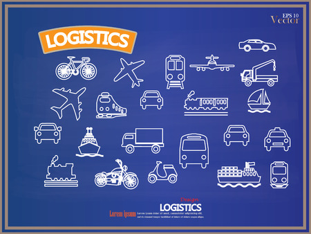 transportation icons: Transport icons.transportation on chalkboard.transportation .logistics.logistic icon.vector illustration.