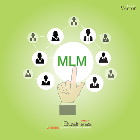 mlm: MLM - multi level marketing.hand pointing MLM with businessman icon.vector illustration. Illustration
