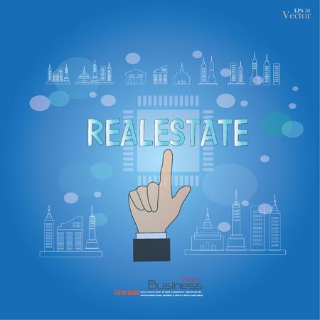Hands pointing realestate. Realestate concept.vector illustration. Illustration
