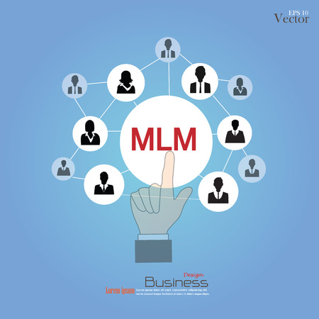 MLM - multi level marketing.hand pointing MLM with businessman icon.vector illustration. Illustration