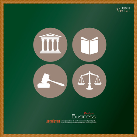 supreme court: Justice court building   with scales of justice ,book and gavel on chalkboard.vector illustration. Illustration