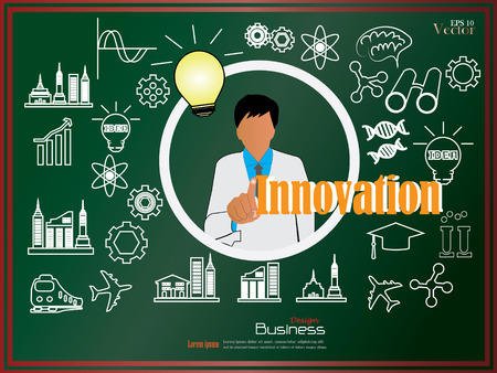 product innovation: business man point to  Innovation with sketch icon on chalkboard.Innovation concept,innovation . vector illustration.