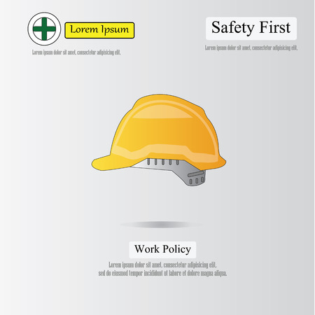 is an illustrator: safety first concept,safety first,safety hat.vector illustrator