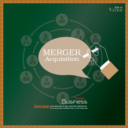 bought: merger acquisition.hand writing  merger acquisition with  business man network icon.vector illustration.
