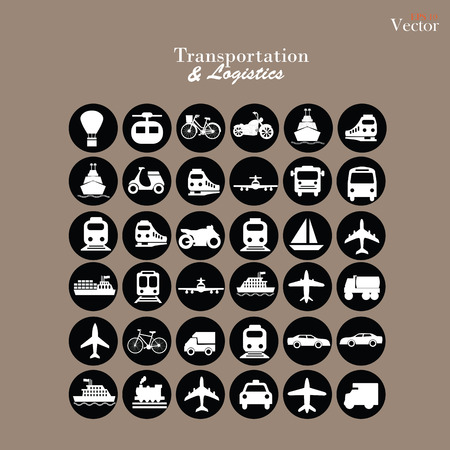 railway transportations: Transport icons.transportation .logistics.logistic icon.vector illustration. Illustration
