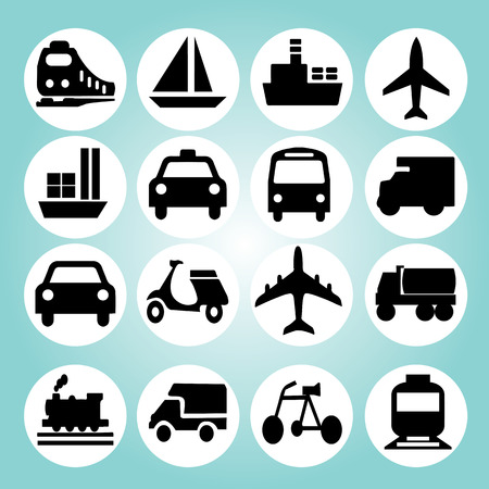 land transportation: Transport icons.transportation .logistics.logistic icon.vector illustration. Illustration