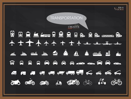 medios de transporte: Icons.transportation Transporte en chalkboard.transportation .logistics.logistic ilustración icon.Vector. Vectores