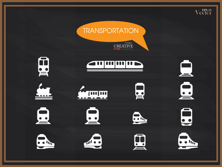 iconos de transporte: train vector on chalkboard .Transport icons,transportation vector illustration