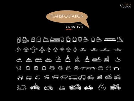 icons.transportation de transport sur chalkboard.transportation .logistics.logistic icon.vector illustration. Vecteurs