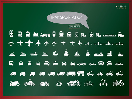car transportation: Transport icons.transportation on chalkboard.transportation .logistics.logistic icon.vector illustration.