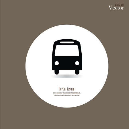 Bus icon on brown background.vector illustration.