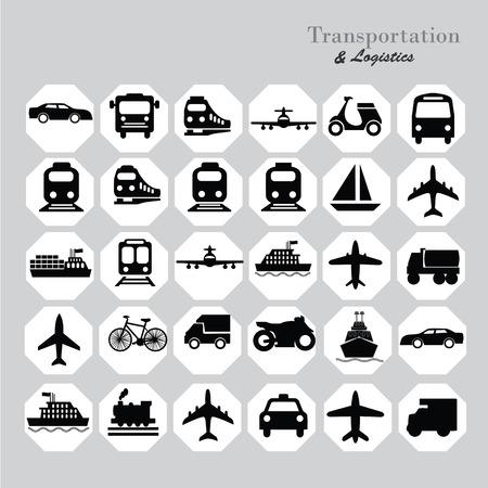 Trasporti icons.transportation .logistics.logistic icon.vector illustrazione. Vettoriali