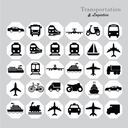 trasporti: Trasporti icons.transportation .logistics.logistic icon.vector illustrazione. Vettoriali