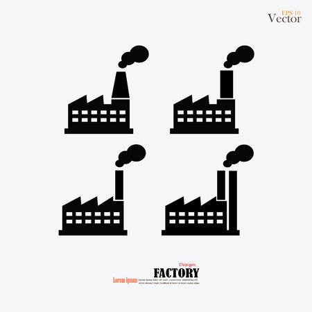 bedrijfshal: Industrieel gebouw fabriek en energiecentrales pictogram set.factory icon.vector illustratie.