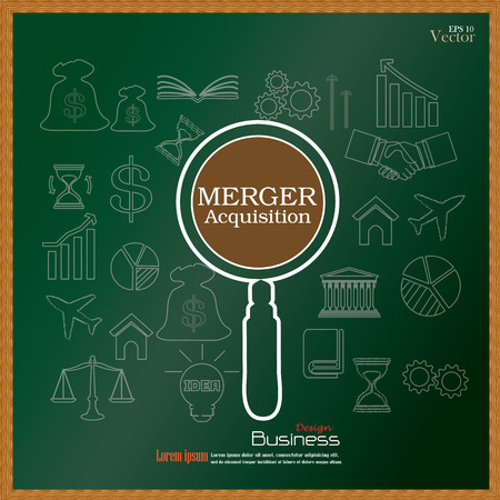 merger: merger acquisition. merger acquisition with magnifier and business icon.vector illustration.