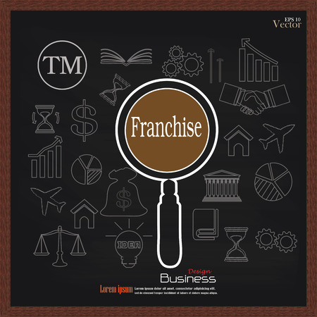 distribute: Franchise concept.franchise with Magnifier and  business   icon.vector illustration.