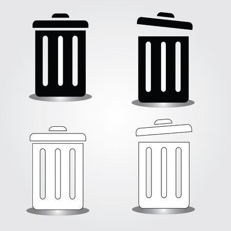 recycle bin: bin symbol on gray background,bin icon vector,recycle bin