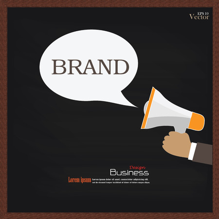branded product: Branding concept.Branding with megaphone on chalkboard.vector illustration.